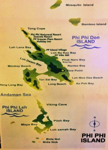 Karten mit Stränden und Buchten auf Koh Phi Phi in Thailand