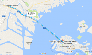 Zugverbindung von Mestre nach Venedig