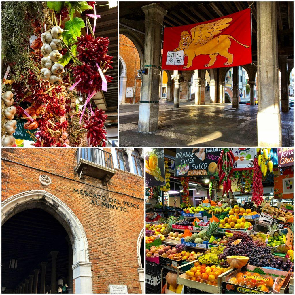 Gemüse- und Fischmarkt am Rialto Mercado in Venedig